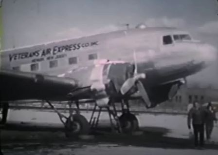 DC-3 in livery of Veterans Air Express on the ramp in 1946