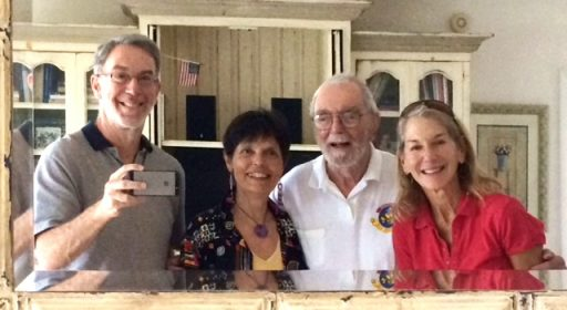 "Stettner Veterans Air Express Reunion. The smiling faces in the ""mirror selfies"" tahen by Al Stettner (far left), next to Gaye Lyn Gravely; Al's dad Jack & sister Ellen Stettner."