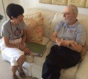 Veterans Air Jack Stettner died at age 93. Shown here in 2015 with the air line founder's daughter sharing memories of his adventure.