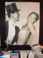 "Dorothy Stettner ""dancing"" with Fred Astaire on a clever poster ""photoshopped"" by her son for her 70th Birthday."
