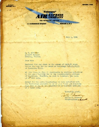 7/3/1946 official Veterans Air Express letter cancelling their lease at Hendricks Field.