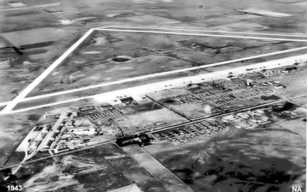 1943 aerial view of Great Bend Army Airfield, Kansas where during WWII Ed Martz taught radar navigation.