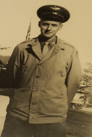 Early photo of Veterans Air DC-3 pilot John Schaus, in Army Air Corps uniform. Photo from his WWII scrapbook.