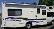 RV trimmed in deep purple and charcoal grey ready to head down the road.