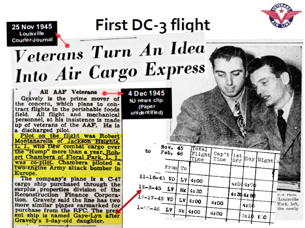Newspaper clippings and pilot records record first Veterans Air cargo revenue flight 3 December 1945. Iced, dressed turkeys from Louisville to Teterboro NJ.