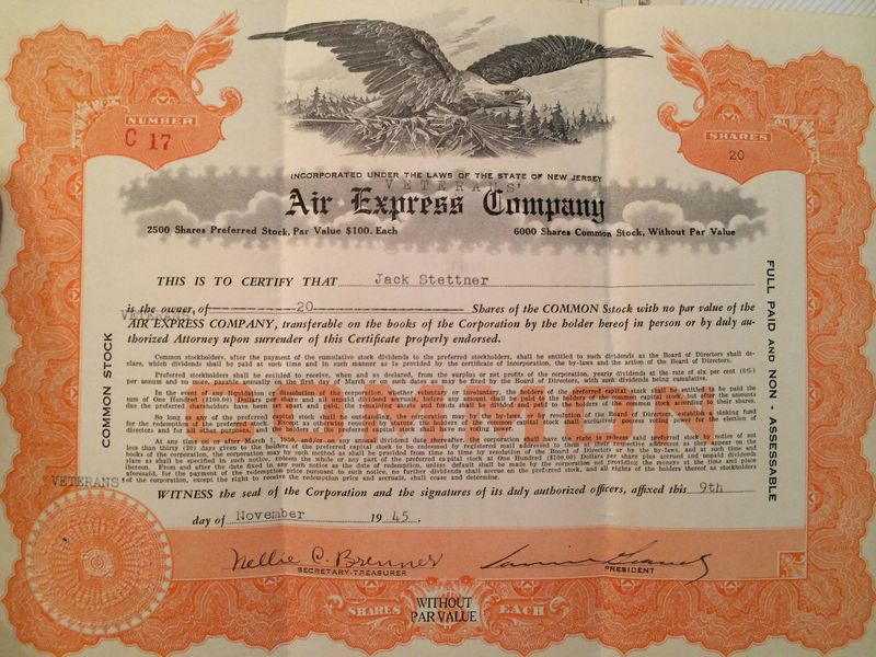 "This ""Air Express Company"" Common stock issue dated Nov 9, 1945 belongs to Jack Stettner, one of the original founders. You can see the word ""Veterans"" added by typewriter acknowledging the official company name on the Veterans Air first stock offering."
