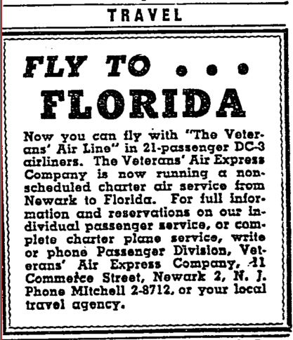 Big headline. FLY TO...FLORIDA. Classified ad in Travel Section of New York Times 18 Jan 1946.