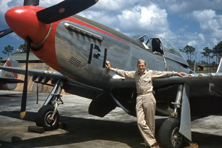 "Veterans Air Express John W. Greenleaf, Sr., with his WWII P-51 ""warbird."""