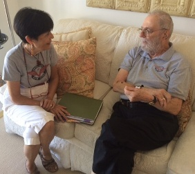 Jack Stetter and Gaye Lyn engrossed in conversastion about his days with Veterans Air.