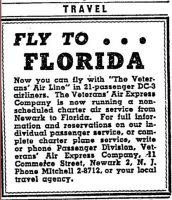 FLY TO FLORIDA. 1946, Jan 18 & 27 Classified ad in The New York Times.