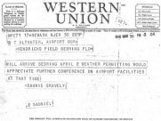 3/30/1946 Western Union telegram from Gravely to Altvater