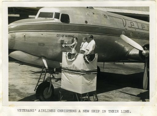Orange-juice chirstening of DC-4 at Sebring/Hendricks Field.