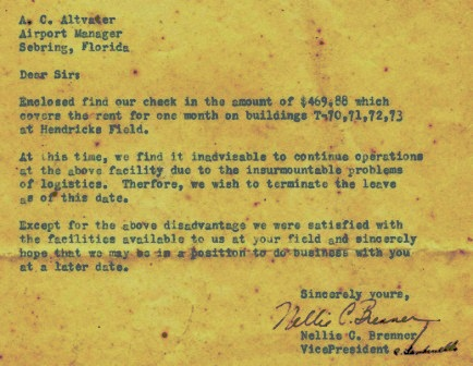 Veterans Air letter cancelling their operations base lease at Hendricks Field.