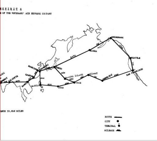 Veterans Air Express CAB Application Exhibit A, Eastern portion of Route Map files alternates from Bombay to San Francisco.