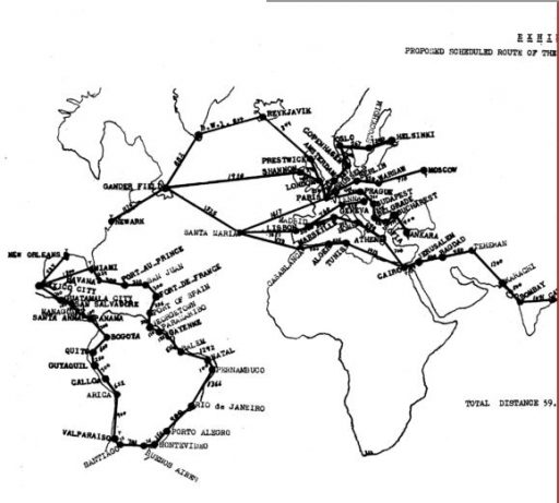 Veterans Air Express CAB Application Exhibit A, Western portion of Route Filing Map stretches from Buenos Aires to Bombay.
