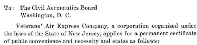 Application addressed to The Civil Aeronautics Board, Washington, D.C.
