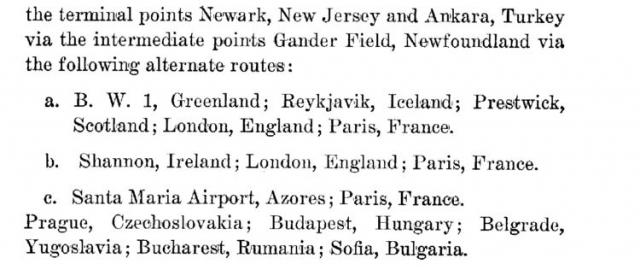 Veterans Air Express naming Ankara, Turkey, as terminal point via intermediate points following alternate named routes