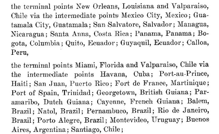 Caribbean islands and cities around the circumference of South America are named as intermediate points in Veterans Air CAB application.