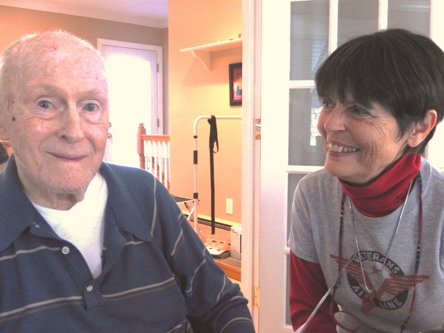 Ed Martz at home in November 2015 sharing stories of his 1946 adventures in Prague and Warsaw as navigator for Veterans Air.