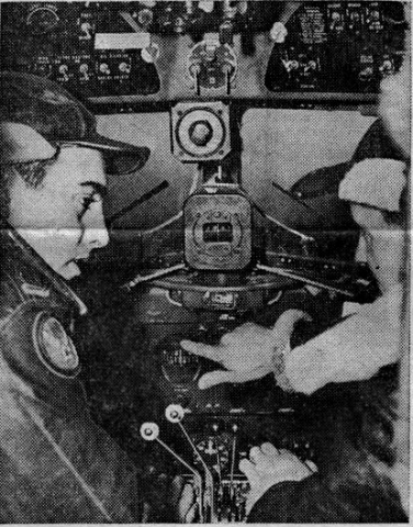 Captain Robert Montanarella, left seat, and Copilot Harold C. Chaplain. This photo identifies them, but only their home towns are known. Photo credit: The Sunday Call, date unknown.