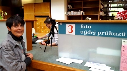Gaye Lyn becoming proud card-carrying member of Czech Republic National Library. Photo credit: Harry Pollitt