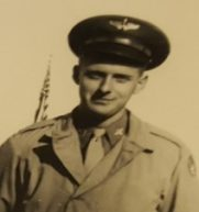 John Schaus wearing his Army Air Corps uniform. Photo from his WW II scrapbook