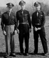 "1942 graduation photo of ""trio of navigators,"" including Michael Frome."