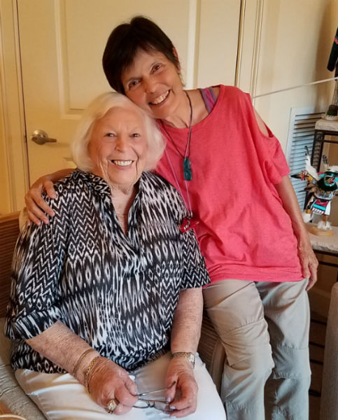 A Florida hug and fun conversations between Marilyn Gries and Gaye Lyn.