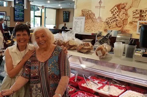 Veterans Air Express Marilyn Gries and Gaye Lyn enjoy lunch at Jewish deli in Boynton Beach, FL
