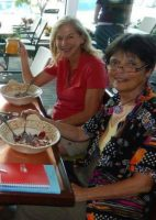 Ellen Stettner and Gaye Lyn enjoy breakfast in 2015, the first time they met.