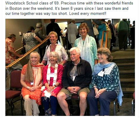 Angie with five of her mates from the class of 1969 from Woodstock School in India. Each of them wears a wonderful grin and very colorful attire.