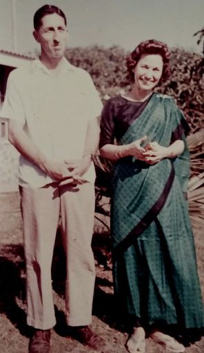 Not long after he was Veterans Air DC-4 Flight Engineer Thomas E. Cowart, he became a husband, father and missionary in India. Seen here with this lovely wife Loney Mae dressed in native dress.