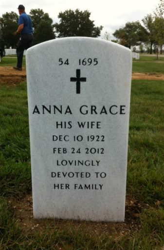 "Arlington National Cemetery Headstone listing Anna Grace as ""his wife,"" meaning Richard Broughton."