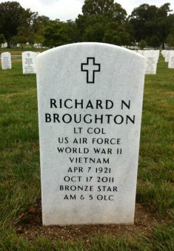 Arlington National Cemetery Headstone lists WWII and Viet Nam service of Richard Broughton