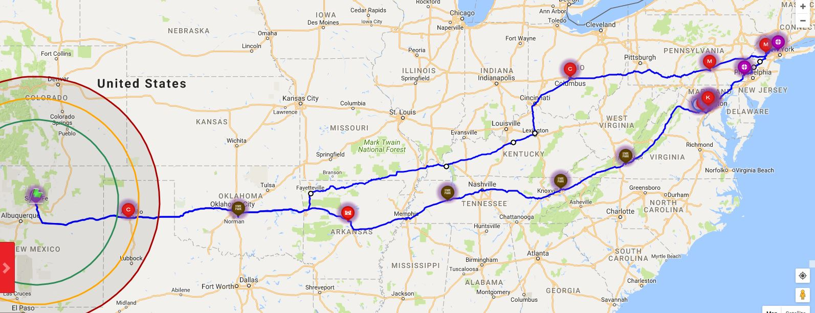 Map dotted with RV park overnight stops and locations of Veterans Air Express families along the journey.