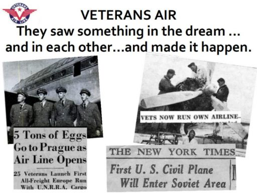 Photos of aircraft crews and mechanics and newspaper headlines presented in the Veterans Air Express story at NJ Aviation Hall of Fame last November.
