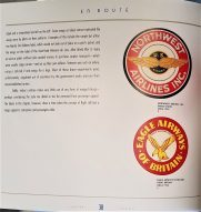 The bold red and gold logo art of Northwest Airlines (circa 1934) and Eagle Airways of Britain (circa 1953) grace page 38 of EN ROUTE