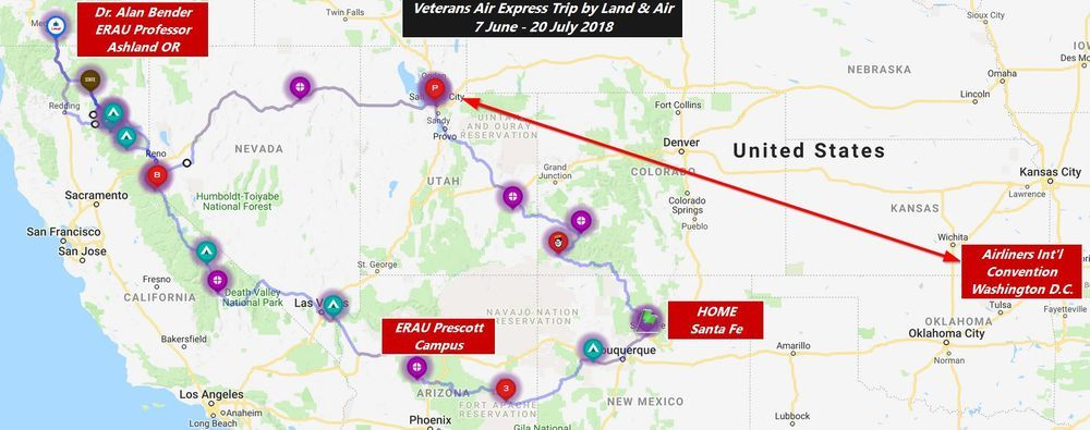 A map shows the far-reaching route during summer 2018 of Veterans Air Express research trip...from Santa Fe NM to Prescott AZ and as far northwest as Ashland OR then to Salt Lake City for a round-trip flight to Washington DC.