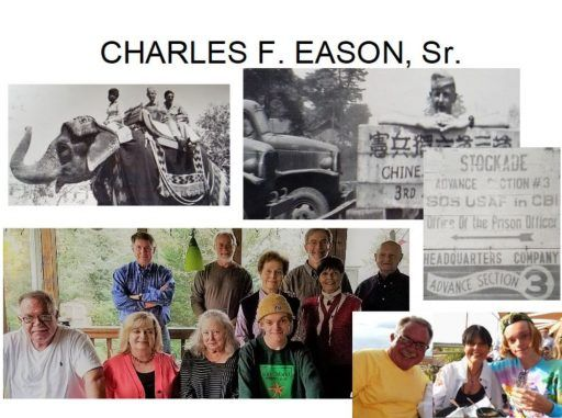 Five photos show Charles Eason during WWII, a gathering of his current-day family with two more VAE families in 2017, and his son and grandson Paul and Evan visiting Gaye Lyn and Harry.