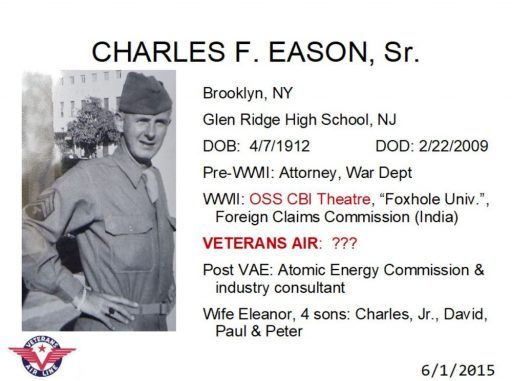 Young Charles Eason in uniform. Born 1912 in Brooklyn, served OSS China/Burma/India Theatre, and Atomic Energy Commission post-WWII. But role unknown at Veterans Air.