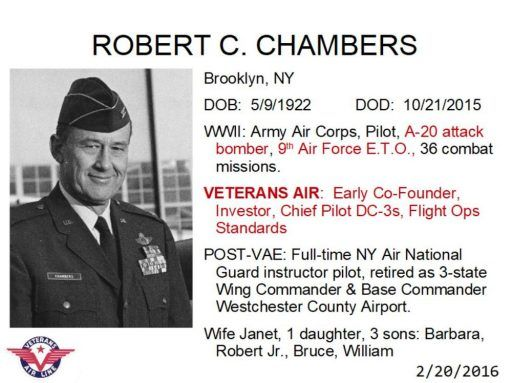 Handsome and standing proud in his service uniform, Robert C. Chambers co-founded Veterans Air early-on.