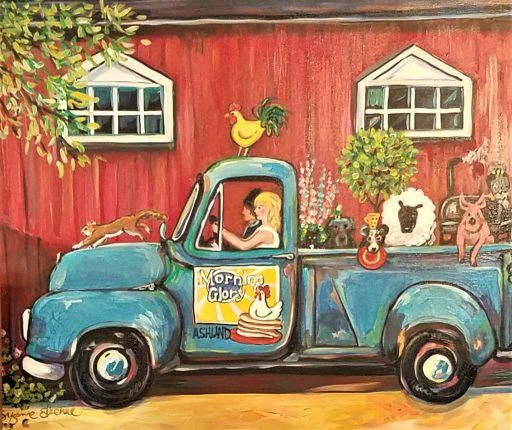 The Morning Glory blue pick'um up truck - a painting brimming with farm animals, a red barn and two women driving to market.