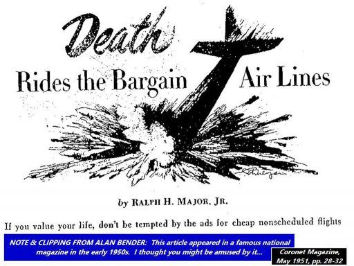 Death Rides the Bargain Air Lines. Headline screams across a drawing of an airliner crashed so deeply into the ground that only its tail survives.