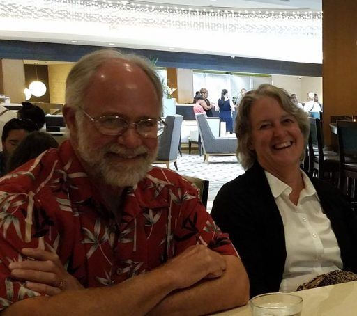 Great smiles captured in a photo of Peter and Dana Eason seated at the gathering of Veterans Air families in July 2018.