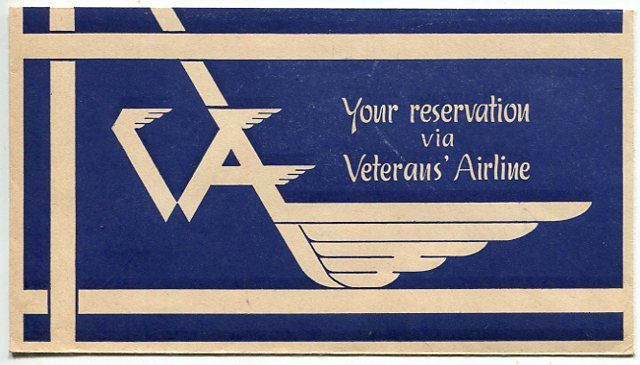Veterans Airline ink blotter. Deep blue background with white text and a totally unfamiliar logo, angular, windswept VAL.