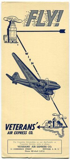 "An arrow shows the ""flight path"" of Veterans Air DC-3 between a skyscraper in New York to the palm trees and beaches of Florida."