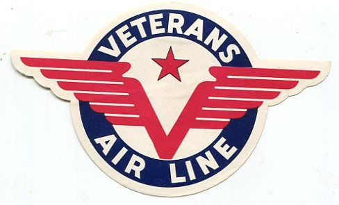 Red stylized (art-deco looking) wings and red star encircled by blue background showoff the logo of Veterans Air Line.