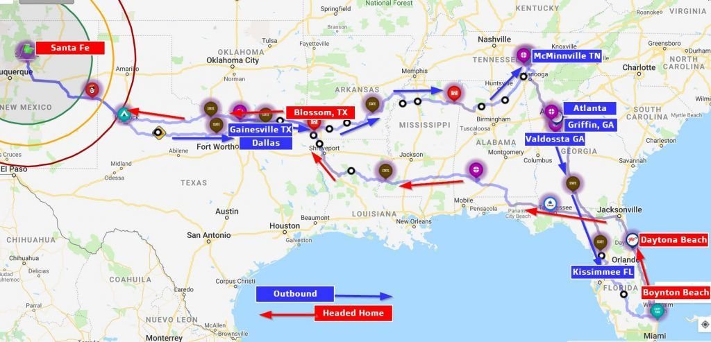 A map depicts destinatiions and route of a Veterans Air research trip in 2019.