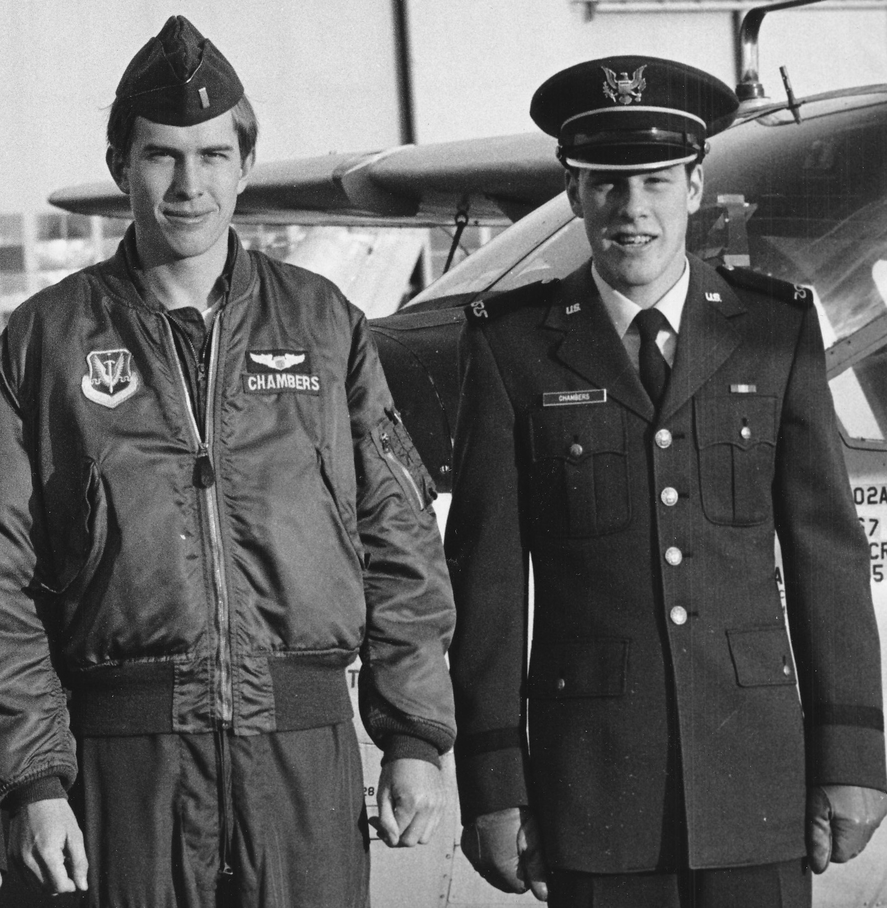 Standing tall and handsome, we see Colonel Robert Chambers in Air National Guard uniform.