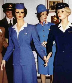 Looking very real, four mannequins dressed as 1940's flight attendants in sky blue and dark navy uniforms with crisp white blouses. Photo from Charles Quarles collection.